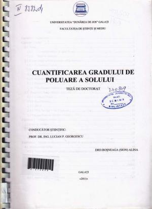 Cover for Cuantificarea gradului de poluare a solului: teză de doctorat
