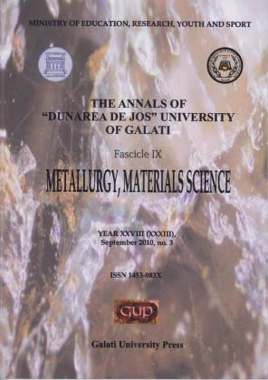 "Cover for The Annals of ""Dunarea de Jos"" University of Galati, Fascicle IX, Metallurgy and Materials Science: Year XXVIII, No. 3, Galați: Galati University Press, September 2010"