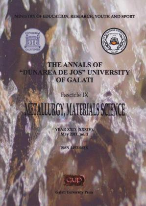 "Cover for The Annals of ""Dunarea de Jos"" University of Galati, Fascicle IX, Metallurgy and Materials Science: Year XXIX, (XXXIV), No. 1, Galați: Galati University Press, May 2011"