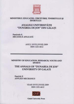 """Cover for Analele Universității """"Dunărea de Jos"""" din Galați.  Fascicula X, Mecanică aplicată: Anul XXVII (XXXII).  Galați: Galati University Press, 2009"""