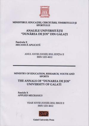 """Cover for Analele Universității """"Dunărea de Jos"""" din Galați. Fascicula X, Mecanică aplicată: Anul XXVIII (XXXIII). Issue 1. Galați: Galati University Press, 2010"""