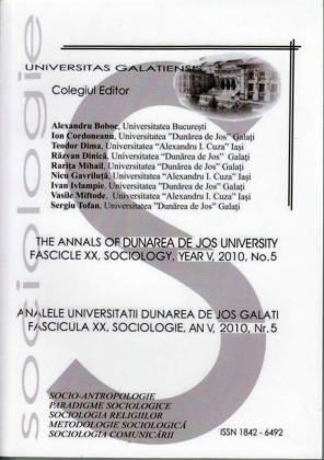 """Cover for Analele Universității """"Dunărea de Jos"""" din Galați, Fascicula XX, Sociologie: an V, Nr. 5, Galați: Galati University Press, 2010"""