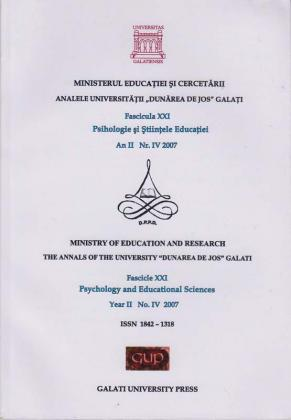 "Cover for Analele Universității ""Dunărea de Jos"" din Galați, Fascicula XXI, Psi-hologie și Științele Educației: Nr. IV, Year II, Galați: Galati University Press, 2007"