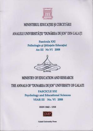 """Cover for Analele Universității """"Dunărea de Jos"""" din Galați,  Fascicula XXI, Psihologie și Științele Educației: anul III, Nr. VI, Galați: Galati University Press, 2008"""