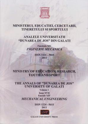 "Cover for Analele Universității ""Dunărea de Jos"" din Galați,  Fascicula XIV, Inginerie mecanică: Volume I, Issue XVI, Galati University Press, 2011"