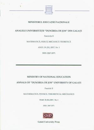 "Cover for The Annals of ""Dunarea de Jos"" University of Galati. Matematics, physics, theoretical mechanics"