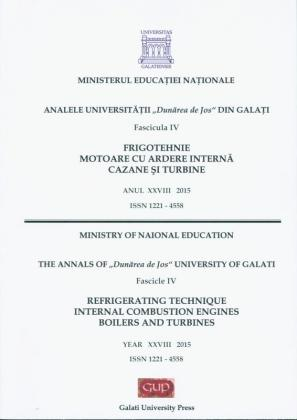 """Cover for The Annals of """"Dunarea de Jos"""" University of Galati.  Refrigerating Technique, Internal Combustion Engines,  Boilers and Turbines"""