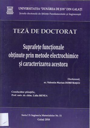 Cover for Suprafețe funcționale obținute prin metode electrochimice și caracterizarea acestora: teză de doctorat