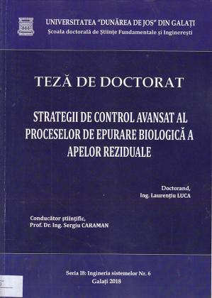 Cover for Strategii de control avansat al proceselor de epurare biologică a apelor reziduale: teză de doctorat