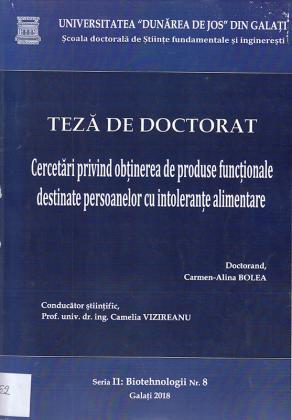 Cover for Cercetări privind obținerea de produse funcționale destinate persoanelor cu intoleranțe alimentare