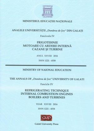 """Cover for The Annals of """"Dunarea de Jos"""" University of Galati,  Fascicle IV – Refrigerating Technique, Internal  Combustion Engines, Boilers and Turbines, No. 1 - 2016"""