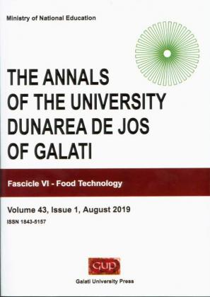 """Cover for The Annals of """"Dunarea de Jos"""" University of Galati.  Fascicle VI – Food Technology, Volume 43, Issue 1,  August 2019"""