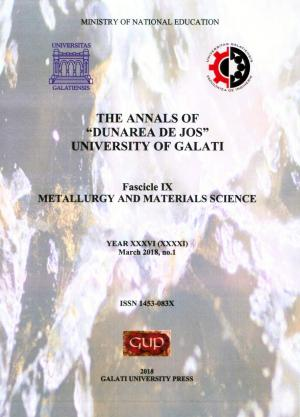 """Cover for The Annals of """"Dunarea de Jos"""" University of Galati.  Fascicle IX – Metallurgy and Materials Science. No. 1, March 2018"""