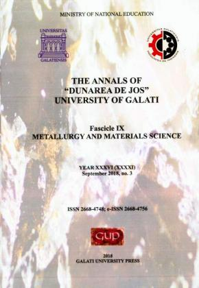 "Cover for The Annals of ""Dunarea de Jos"" University of Galati. Fascicle IX – Metallurgy and Materials Science.  No. 3, September 2018"