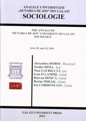 """Cover for The Annals of """"Dunarea de Jos"""" University of Galati.  Fascicle XX – Sociology, No. 11, 2016"""