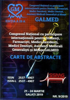 Cover for Congresul Național cu participare internațională  pentru Studenți, Farmaciști, Medici Rezidenți, Medici  Dentiști, Asistenți Medicali Generaliști și Moașe –  GALMED – Carte de abstracte, Galați, 21-24 martie 2019