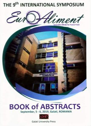 Cover for The 9th International Symposium EURO-ALIMENT. Innovative Minds for Future Food – Book of Abstracts, September, 5-6, Galati, 2019