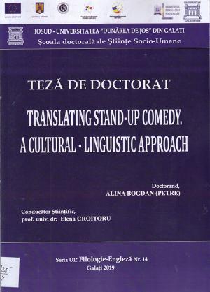 Cover for Traducerea umorului de tip stand-up. O abordare cultural-lingvistică: teză de doctorat