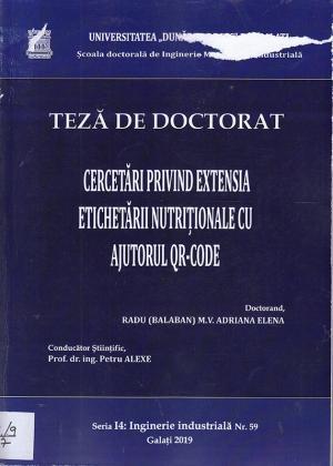 Cover for Cercetări privind extensia etichetării nutriționale cu ajutorul QR-CODE: teză de doctorat