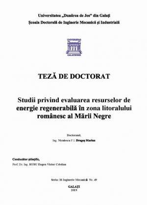 Cover for Studii privind evaluarea resurselor de energie regenerabilă în zona litoralului românesc al Mării Negre: teză de doctorat