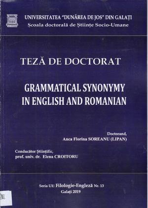 Cover for Sinonimia gramaticală în engleză și română: teză de doctorat