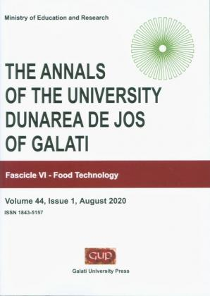 """Cover for The Annals of """"Dunarea de Jos"""" University of Galati.  Fascicle VI – Food Technology, Volume 44, Issue 1,  August 2020"""