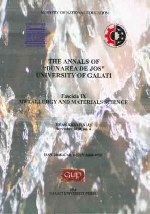 """Cover for The Annals of """"Dunarea de Jos"""" University of Galati.  Fascicle IX – Metallurgy and Materials Science. No. 4,  December 2018"""
