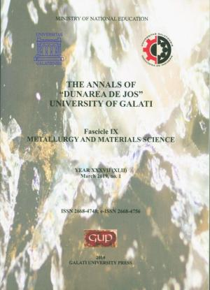 """Cover for The Annals of """"Dunarea de Jos"""" University of Galati. Fascicle IX – Metallurgy and Materials Science. No. 1, March 2019"""