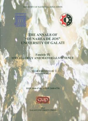 """Cover for The Annals of """"Dunarea de Jos"""" University of Galati. Fascicle IX – Metallurgy and Materials Science.  No. 2, June 2019"""