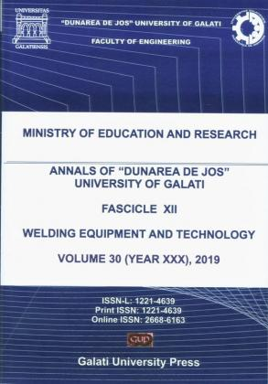 """Cover for The Annals of """"Dunarea de Jos"""" University of Galati.  Fascicle XII – Welding Equipment and Technology,  Volume 30, 2019"""